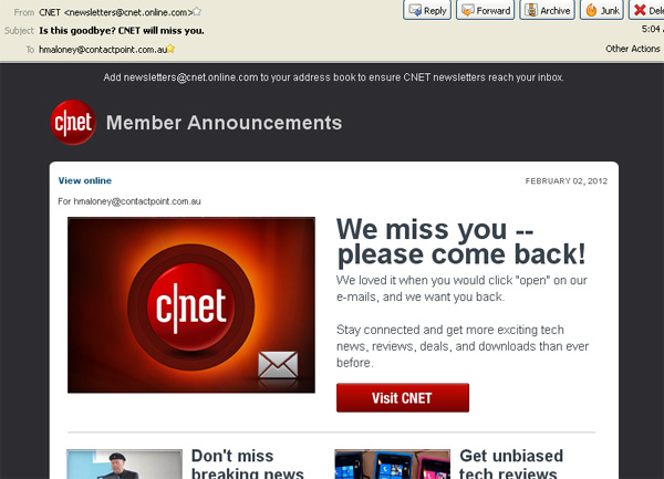 CNET list refresh email